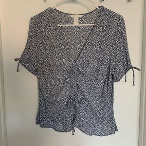 H&M Blue Floral Cinched Tied Top Blouse